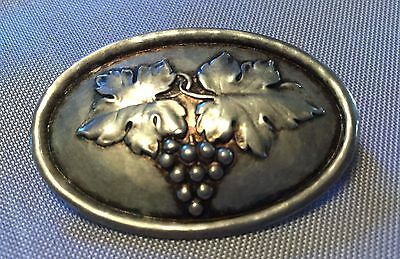 Antique 800 Silver Grape Bunch and Leaves Brooch Pin