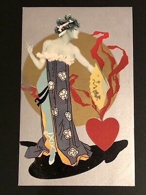 Antique Art Nouveau Postcard - Beautiful Lady with Heart ca 1910 series 495