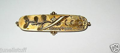 Victorian 15 CT Solid Yellow Gold Ornate Antique Pin Brooch