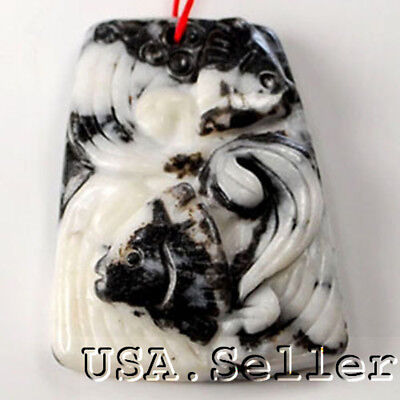 Rare! Natural Black/ White Zebra Agate Carved Tropical Fishes Pendant JEWELRY