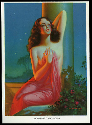 Eggleston Art Deco Vintage Pin-up Print Radiant Redhead Moonlight And Roses 30s