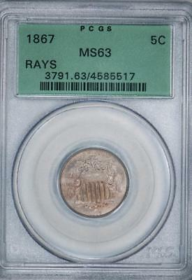 1867 PCGS MS63 Shield Nickel Type 1 With Rays in OG Holder Item#J1602