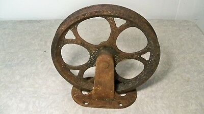 Antique Cast Iron Ceiling Or Wall Mount Pulley Industrial Primitive PAT 1887