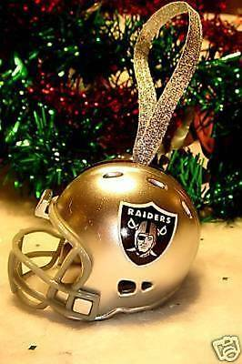 Oakland Raiders Christmas Bell Nfl Football Helmet Ornament