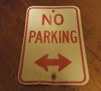 "Vintage Street Sign NO PARKING Arrow Aluminum Retired 12""x18"" Reflective"