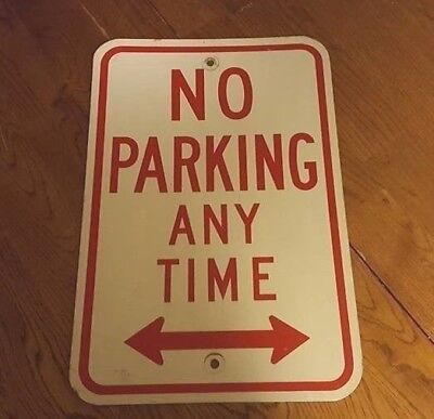 "Vintage Street Sign NO PARKING ANY TIME Aluminum Retired 12""x18"" Reflective"