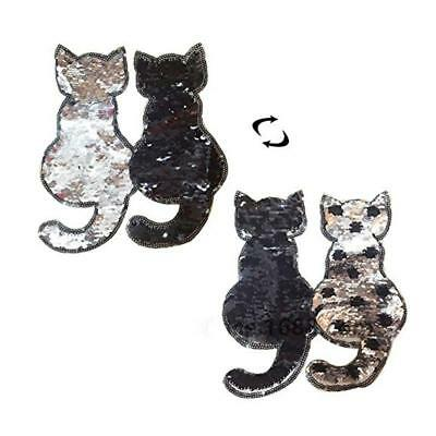 Cat Reversible Color Changing Sequins Sewing Bag Patches For Clothes Coat Jeans