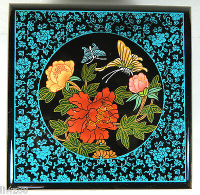 Jewelry Trinnket Cosmetic Box Case,Lacquerware,Hand Work,Peony Flower Butterfly