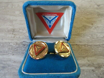 Old Vintage Enameled YMCA Y's Mens Club Cufflinks in Original Box