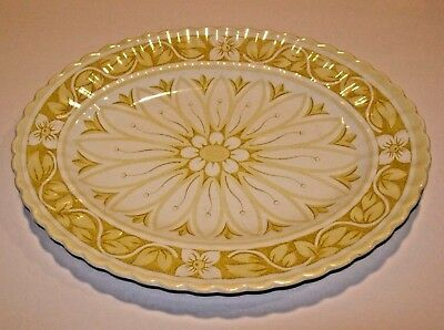 """VINTAGE J & G Meakin Medici Yellow GOLD WHITE CHINA DINNERWARE OVAL PLATTER 12"""""""