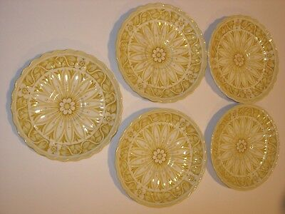 LOT 5 J & G Meakin Medici Yellow GOLD WHITE CHINA CERAMIC CUP SAUCERS DINNERWARE