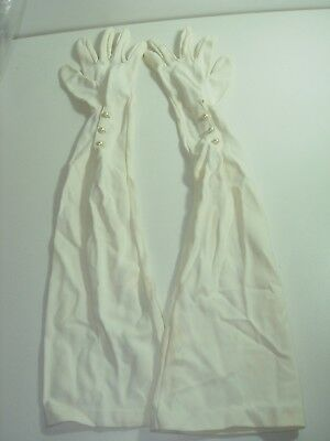 """womens OFF WHITE vintage gloves opera 20"""" LONG LENGTH evening size 7 1/2 SMALL"""