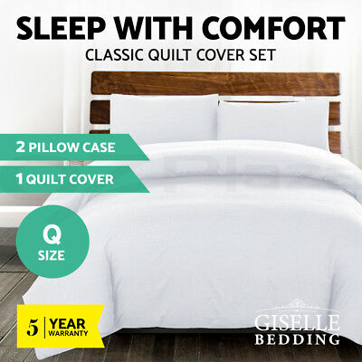 Giselle Bedding Luxury Classic Bed Duvet Doona Queen Quilt Cover Set Hotel White