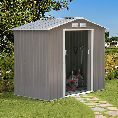 7'x4' Garden Storage Shed Tool Cabinet w/ Floor Foundation Outdoor Steel Grey