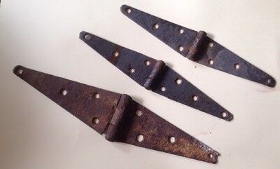 Lot of 3 Antique Barn Door Strap Hinges Rusty Steel Vintage Primitive Gate FAST
