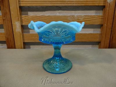 1905 Jefferson Glass Tokyo Blue Opalescent Footed Compote Ruffled Edge Dish
