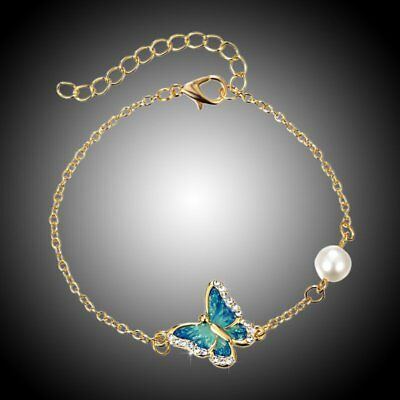 Gold Crystal Pearl Charm Butterfly Bracelet Chain Bangle Women Costume Jewelry