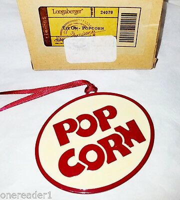 Longaberger POPCORN Tie On / Christmas Ornament #24079  NEW IN BOX