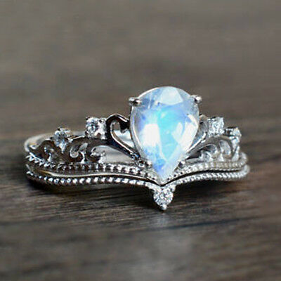 925 Silver Sterling Pear Cut Crown Fire Opal Gemstone Wedding Ring Band Jewelry