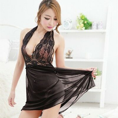 Sexy Dames Vêtements de nuit Babydoll Lingerie Nighty Robes G-string Underwear
