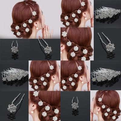 20 Pc Hair Pins Clips Diamond Flower Diamante Crystal Wedding Bridal