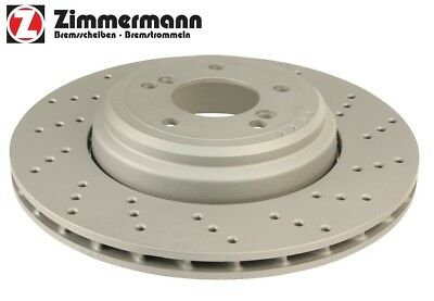 For BMW E82 E90 E92 Set of 2 Front Disc Brake Vented Drilled Rotors Zimmermann