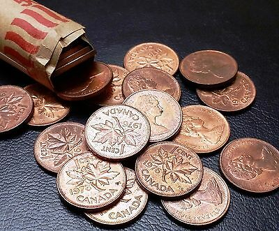 Roll of 50x Canada Small Cents (Penny) Mixed 1974, 1976, 1978 - AU/UNC CONDITION