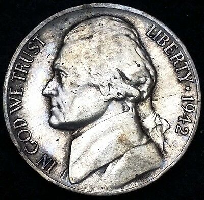 1942-P Silver Jefferson Nickel, 5 Cents **GREAT CONDITION** Free Combined S/H
