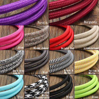 1/2/3/5/10M 2 Cord Color Vintage Twist Braided Fabric Light Cable Electric Wire