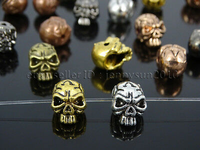 Solid Metal Ghost Head Skull Bracelet Connector Charm Beads Silver Gold Rose