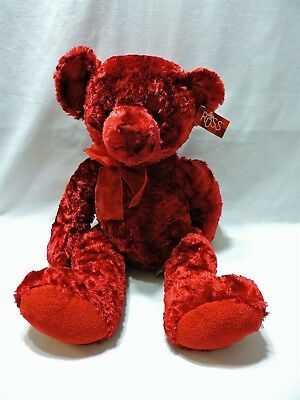 "Russ Teddy Bear Sherry Rose Plush Stuffed Animal 21"" Deep Red Gorgeous Soft"