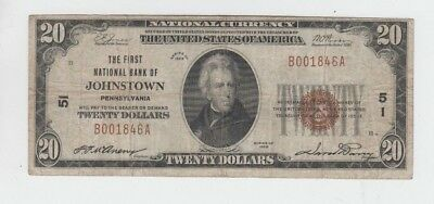 National Currency Johnstown Pa $20 1929-I vg-fine