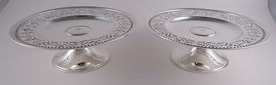 Tiffany Sterling Silver Antique Pair Of Pierced Border Low Tazzas Floral Piercin