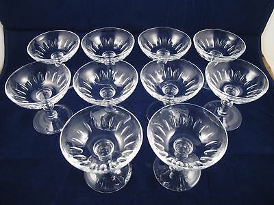 Set of 10 STEUBEN 6268-1 Wafer Stem Cut Glass Champagne Glasses See photos