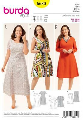 Burda Sewing Pattern Womans Fitted Dress 6680