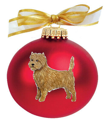 Cairn Terrier Dog Hand Painted Glass Christmas Ornament - Name Included