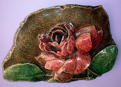 Ornate Victorian Antique Vintage Single Rose Flower Sculpture Wall Decor