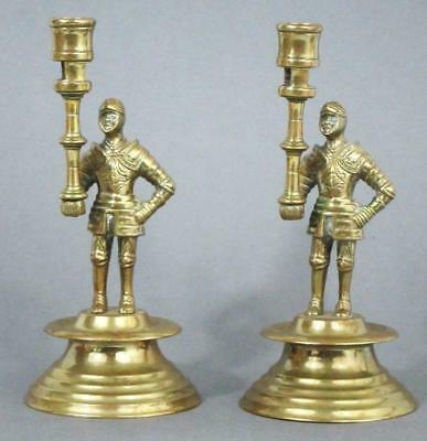 SPLENDID PAIR OF ANTIQUE FLEMISH SOCKETED BRASS CANDLESTICKS with KNIGHT COLUMNS