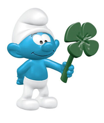 Smurf with Clover Leaf Plastic Figurine 20797 FROM OCCASIONS SMURF SET