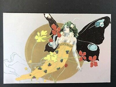 Antique Art Nouveau Postcard - Beautiful Butterfly Lady ca 1910 series 495