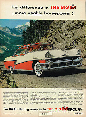 1956 Mercury Montclair 2 Door Vintage Original Laminated Ad Art