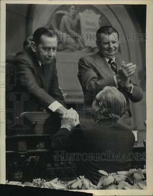 1979 Press Photo New York Governor Wilson with Earl Bryder & Nelson Rockefeller