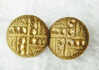 Lot of 2 matching ANTIQUE Gilt Brass METAL BUTTONS Geometric Section Pattern