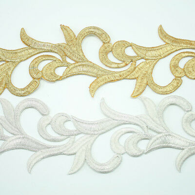 Metallic Embroidery Antique Venise Lace Trim #310 by the yard Bridal Wedding