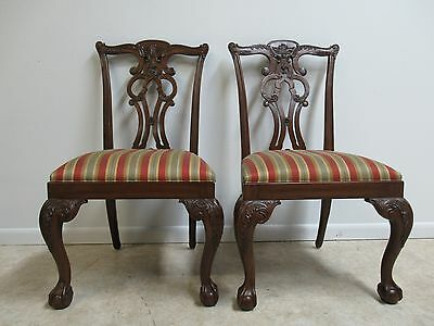 Ethan Allen 18th Century Mahogany Chippendale Dining Room Side Chairs  A