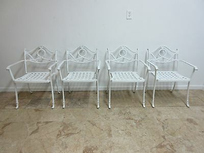 Vintage Cast Aluminum Carved Outdoor Patio Porch Arm Lounge Dining Chairs B