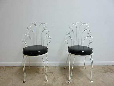 Pair Petite Vintage Mid Century Scrolled Metal Outdoor Patio Side Chairs Porch