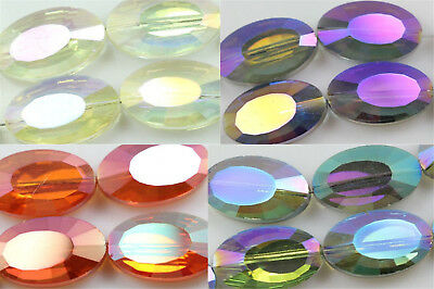 10pcs 22mm Faceted Glass Crystal Charms Flat Oval Loose Spacer Beads DIY