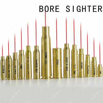US Red Dot Laser Brass Cartridge Bore Sighter Boresight For Scope CAL Hunting
