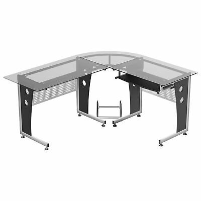 "64"" Modern L-Shaped Glass Top Office Workstation Computer Desk PC Table"